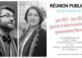 Réunion publique : « Juin 2017 – Juin 2018 : Quel bilan économique pour le gouvernement Macron? » avec Dany Lang, économiste atterré. Entrée libre
