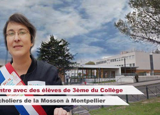 Rencontre avec des élèves de 3ème au Collège les Escholiers de la Mosson