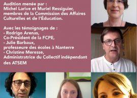 Audition sur la reprise des écoles le 11 mai